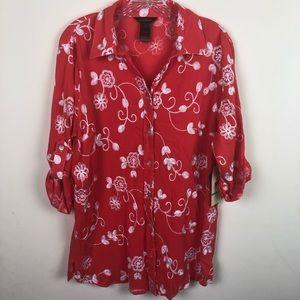 Multiples | Floral Button Down Blouse | Large